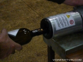 Crimping and capping wine bottle